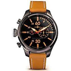 Chotovelli Pilot Aviator Men's Watch Chronograph display Camel leather Strap 52.12