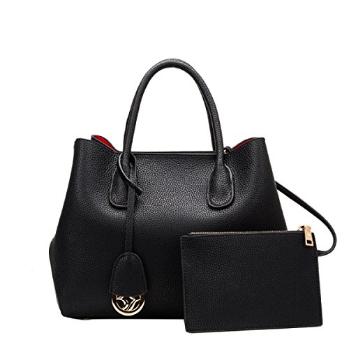 PACK Borsa In Platino Cuoio Lychee Pattern Borse Borse Borsa A Tracolla Ladies Big Bag,B:Black B:Black
