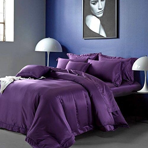 BB.er Einfach reines Eis Seide angenehm weiche Betten 4-Teiler Doppelbett Bettbezüge Bettbezüge Bettlaken, Lila, 220 x 240 cm -