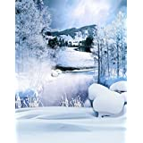 A.Monamour Scenic Winter White Snow Trees With Rimes Hoarfrost Christmas Holiday Mural Party Wall Decorations Vinyl Fabric Photography Backdrops 5x7ft - Riverside Stones