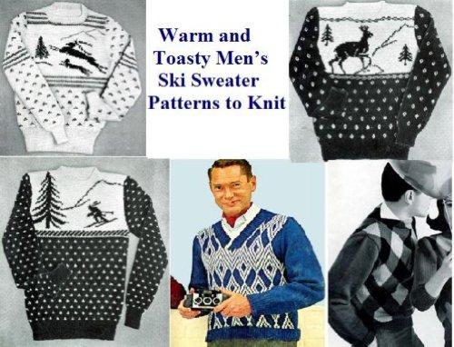 Modles pull de Ski masculine chaud et bien au chaud  tricoter