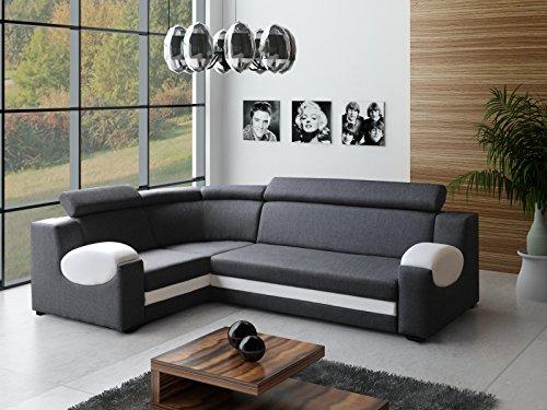 große Ecksofa Sofa Eckcouch Couch mit Schlaffunktion und Bettkasten Ottomane L-Form Schlafsofa Bettsofa Polstergarnitur - PARIS (Ecksofa Links, Grau)