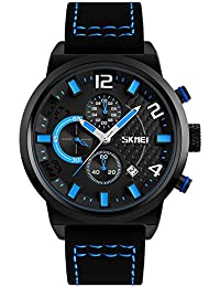 FunkyTop Men Watch Analog Date 3 Sub Dials Fashiono Sport Montre étanche quartz (Bleu)