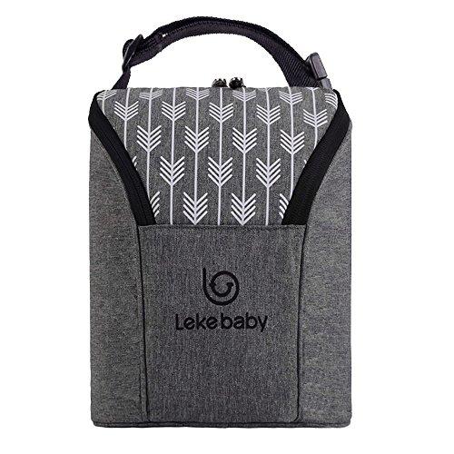 Lekebaby borsa doppia termica per biberon, portabiberon isotermico, adatto a 2 grandi bottiglie da 8 once, grigio