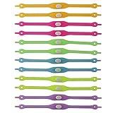 UOOOM 12pcs Multicolores Fluorescents Lacets de Chaussures Elastique Silicone pour Sport Course