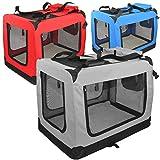 Hundetasche moderne Transportbox mit verstärkten Ecken und 2 Zusatztaschen (XL, grau)