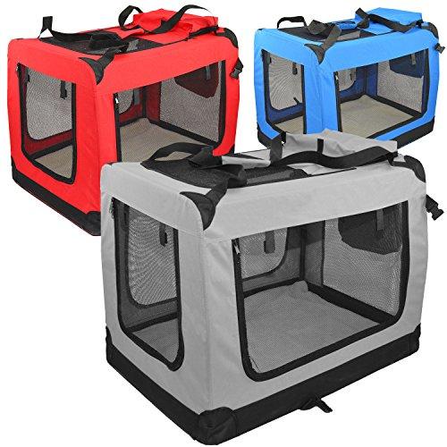 Zooprimus Hundetasche moderne Transportbox mit verstärkten Ecken und 2 Zusatztaschen (L, grau)