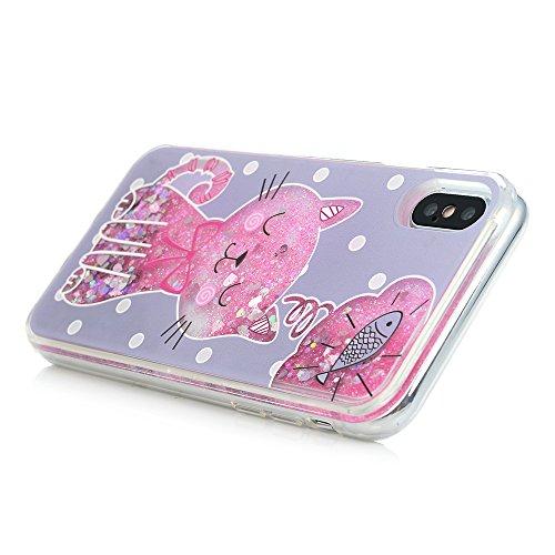 MAXFE.CO Schutzhülle Bumper Case für iPhone X PC Hardcase Plastik Tasche Handyhülle Backcover Treibsand mit Gemalt Muster Design Flamingos Katze