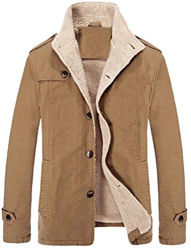 MatchLife Herren Wollmantel Wintermantel WinterJacket Herren Mantel Jacke Männer Parka Style2-Khaki S