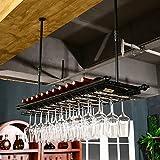 Botelleros Estante de vino tinto Estante de vino tinto de estilo americano Vaso industrial Soporte de cristal de vidrio de vino Sotano Sillón de vaso de vino tinto Vaso de copa de vino Techo botelleros de vino ( Color : Negro , Tamaño : 120cm )