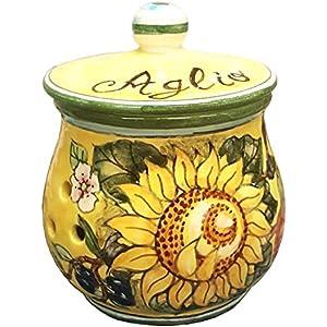 CERAMICHE D'ARTE PARRINI- Italienische Kunstkeramik, jar Knoblauch Dekoration Sonnenblume, handgemalt, hergestellt in Italien Toscana