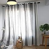 YAOYAO Home 2er-Set Vorhänge Gestreift Nordischer Vorhänge Voile Art Dunkelgraue Gestreifte Gaze für Wohnzimmer Schlafzimmer(175 x 140 cm,Tüllvorhänge)