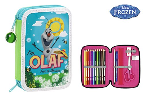 Frozen – Plumier doble, diseño Olaf, 34 piezas, 13 x 20 cm (Safta 411514054)
