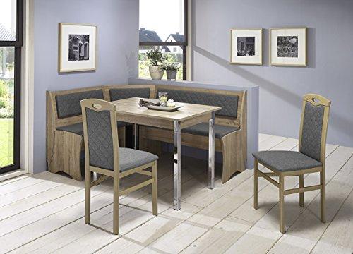 Truhen-Eckbankgruppe, Eiche Sonoma Sägerau Dekor bzw. Buche massiv sonomafarbig - 2 Stühle und Vierfußtisch