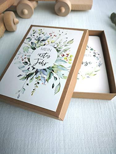 Baby Meilenstein Karten Geschenkset Grün inkl Geschenkbox zur Geburt Babyparty Schwangerschaft Taufe | Milestone Cards Geschenkidee Erinnerungskarten Meilensteinkarten Junge Mädchen