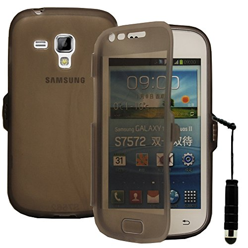 VCOMP® Housse Etui Coque Silicone Gel Portefeuille Livre Rabat pour Samsung Galaxy Trend S7560/ Galaxy S Duos S7562 + Mini Stylet - Gris