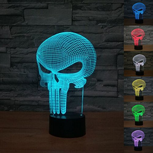 optische LED Lampen,7 Farben blinkende Kunst Skulptur Lichter,Atmosphere Lamp with USB Cable (Schädel)