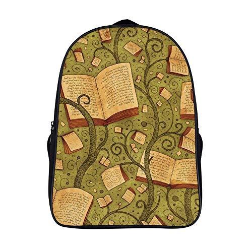 XIAHAILE Kompakte Rucksack Büchertasche für Männer und Frauen, leichter Rucksack für Schul und Urlaubsreisen,Buchgeschichte