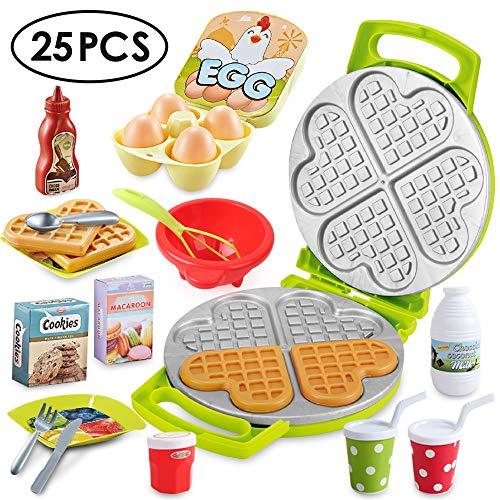BeebeeRun 25 Stück Lebensmittel Spielzeug,Spielzeug für 2 Jährige Mädchen Jungen,Küchenspielzeug für Kinderküche, Kinder Rollenspiele Lernspielzeug für Kinder