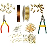 Goelx Gear Wire/Tiger Tail, Copper Wire, Golden Findings (Head Pin, Eye Pin, Jump Ring, Ear Hook), End Clasps(Barrel & Lobster) & Tools(Cutting & Bending) Combo For Jewellery Making,beading & Other Craft Projects !!