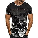 Bluestercool Hommes Mode Camouflage Lettres Imprimé Casual Manches Courtes Top T-Shirt (3XL, Gris)