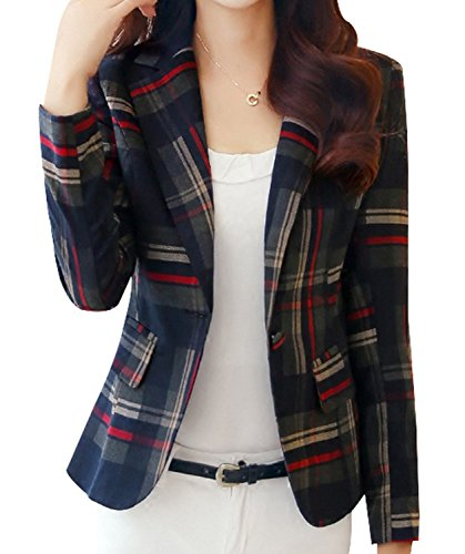 Yasong Women Long Sleeve Tartan Checked Casual Work Formal Suit Jacket Blazer