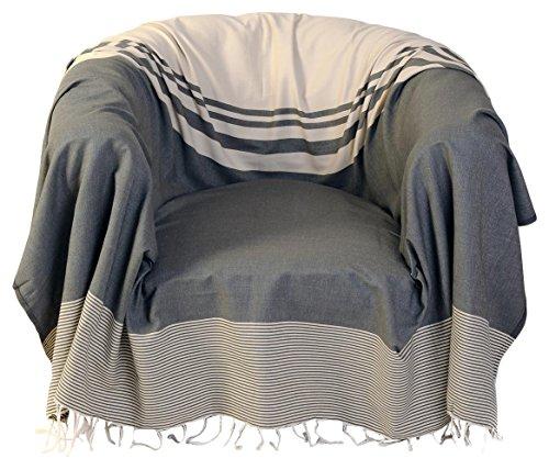Fouta Futée Sessel-Überwurf, quadratisch aus Baumwolle Ecru/Taupe 200x 200cm