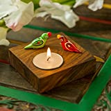 ExclusiveLane Hand-Painted Parrots Home Decorative Tea Light Holder Cum Decorative Candle Holder In Sheesham Wood -Tealight Candle Holders Diyas And Lanterns Diwali Decoration