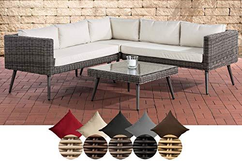 Clp polyrattan divano lounge set molde i grigio melange i giardino lounge rundrattan i angolare angolare + vetro tavolo i 5mm spessore in rattan