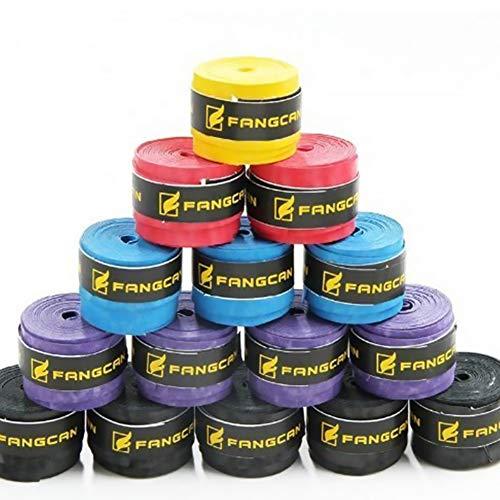Isuper 5 PCS Suave de la PU Sweatband Absorber la Humedad y Antideslizante Sobregrip para el Tenis y la Raqueta de bádminton de Bicicletas Negro/Azul/púrpura/Amarillo/Rojo