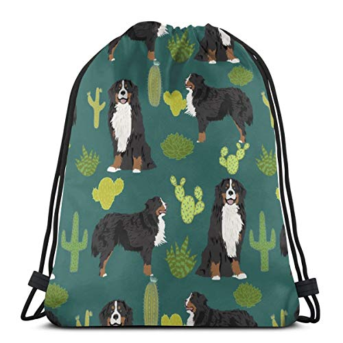 vintage cap Bernese Mountain Dog Cute Dog Breed Cactus Cactus Dogs Dog Breed for Dog Owners_349 3D Print Drawstring Backpack Rucksack Shoulder Bags Gym Bag for Adult 16.9