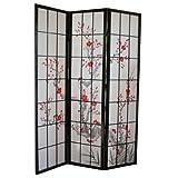 PEGANE Biombo de Madera con Flor de Cerezo Color Negro de 3 Paneles