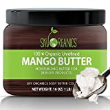 Best Raw Mango Butter by Sky Organics 454g- 100% Pure, Unrefined, Organic Mango Butter-Skin Nourishing, Moisturizing & Healing, for Dry Skin, Hair Shine - For Skin Care, Hair Care & DIY- Made in USA