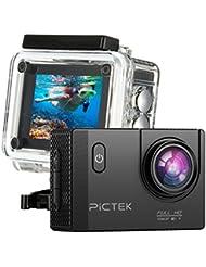 PICTEK - PTOD001B - Cámara Deportiva - HD 1080P, lente angular 170°, conectividad WiFi, 30m de profundidad, pantalla LCD 2''