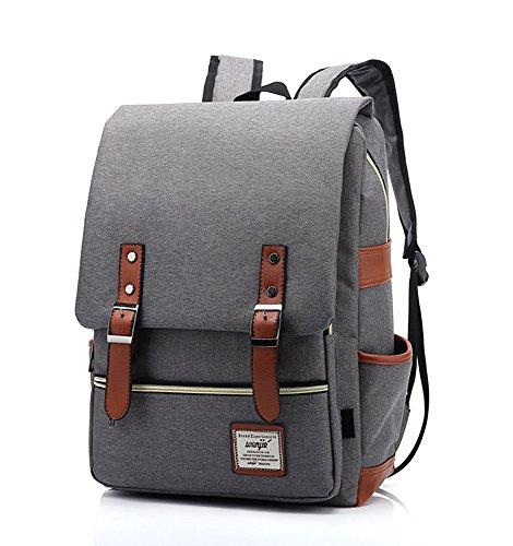 EssVita Vintage Zaino Esterni Viaggi Zaino Scuola Borsa a Tracolla Zaini Laptop Backpack per unisex Stile A Grigio chiaro