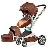 Kombikinderwagen 3 in 1 Funktion mit Buggy und Babywanne 2020 Hot Mom neues Design, Baby Autoschale separate erhältlich,Kaffee Farbe