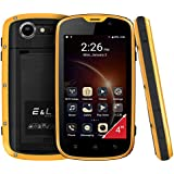 Mobile Phone Android 6.0 Telefonos Moviles Todoterreno Rugged Smartphone E&L W5 IP68 Resistente Impermeable 4 Pulgadas Dual SIM Amarillo