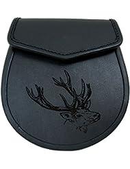 Tartanista - Sporran en cuir - homme - motif cerf gravé - noir