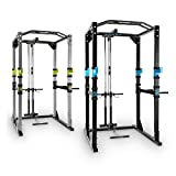 CAPITAL SPORTS Tremendour Power Rack • Power Cage • Kraftstation • mit Latzugturm • 2 x Safety Spotter: 20-stufig • 4 x J-Hooks • Multigripp-Klimmzugstange • aufsteckbare Dipstangen • Stahl-Kantrohrrahmen • silber - 2