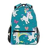TIZORAX Mochila de Viaje, diseño de Unicornio arcoíris y Mariposa, Color Verde