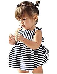 Longra Ropa para bebés Summer Sunsuit Infant Outfit Stripe Backless Vestido Breve