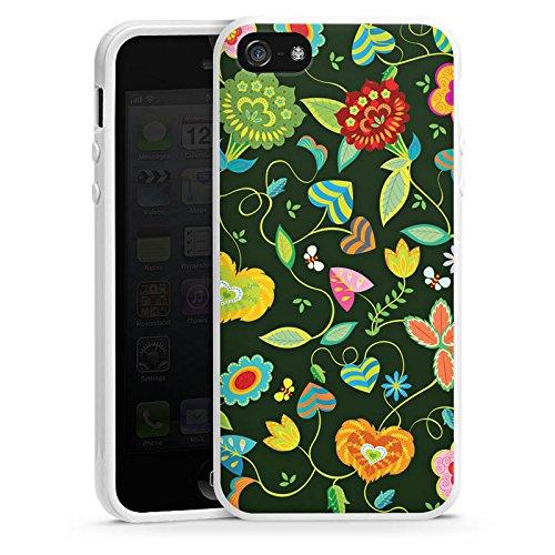 Apple iPhone 5s Housse Étui Protection Coque couleurs Fleurs Fleurs Housse en silicone blanc