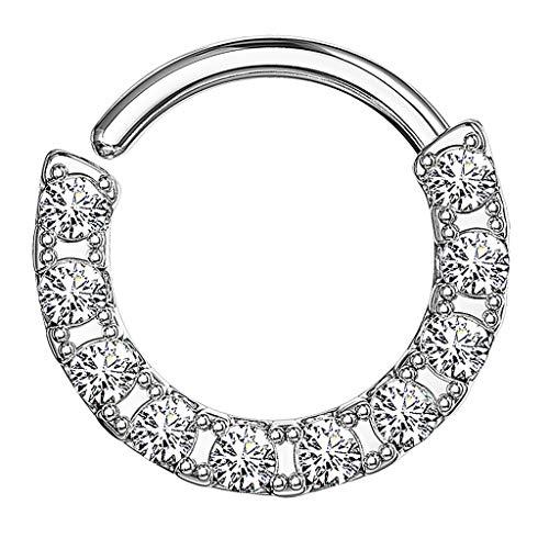 Piercingfaktor Piercing Continuous Ring Septum Tragus Helix Ohr Nase Nasenpiercing Ohrpiercing mit Glitzer Kristall 925 Silber 1,2mm x 10mm (Echtes Sterling Silber Nase Ringe)