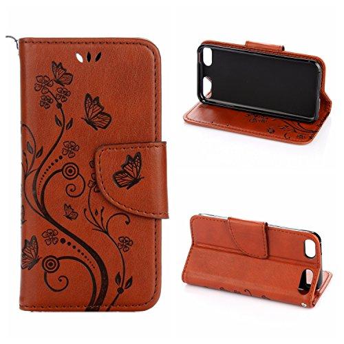 Voguecase® Pour Apple iPhone 7 Plus 5.5 Coque, Étui en cuir synthétique chic avec fonction support pratique pour iPhone 7 Plus (Big papillon-Gris)de Gratuit stylet l'écran aléatoire universelle Papillons V-Rouge-marron