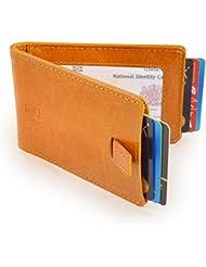 Bloqueo de RFID para hombre piel bifold–Cartera Bolsillo Delantero Fundas para hombre–Cartera de hombre de estilo Thin–Cartera de mano de piel RFID–, color marrón