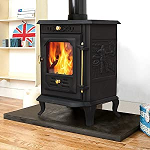 "Lincsfire Waddington JA001 Luxury 7.5KW Type B Multifuel Woodburning Stove Wood Burner Log Burning Fire Fireplace Cast Iron Woodburner + One Free 5"" Flue Pipe"