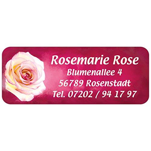 "Adress-Etiketten - Adress-Aufkleber ""Rosa Rose"" mit Wunschtext, 160 Stück, ca. 56 x 23 mm, für 1 bis 5 Zeilen | Text per Mail mitteilen"