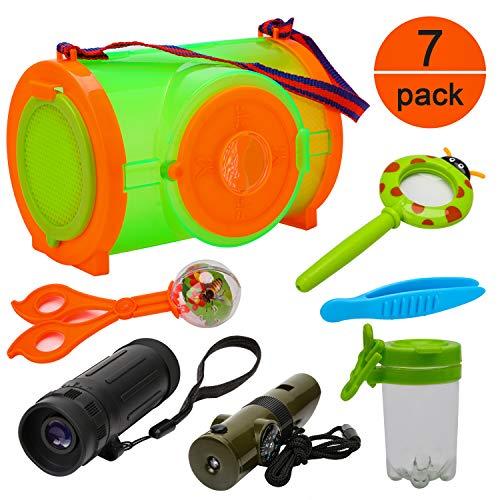 OOTSR [7er Pack] Erkundung im Freien Beinhaltet Bug Catcher Kompass Pfeifen Fernrohr Fehler Insektenfang-Kit für Camping, Wandern, Bildung und Rollenspiele