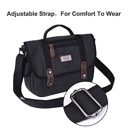 Borsa da viaggio con spalla da uomo, borsa da viaggio EKOOS Retro Borsa a tracolla di tela per la scuola di lavoro all'aperto (nero) Black