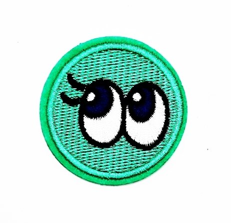 Disney School Old Kostüme (rabana grün Happy Eye Cartoon Kids Kinder Cute Animal Patch für Heimwerker-Applikation Eisen auf Patch T Shirt Patch Sew Iron on gesticktes Badge Schild)